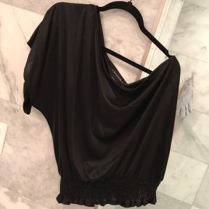 Rampage Black One Shoulder Black Blouse Size L